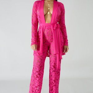 2pc Pink Lace Pants Set
